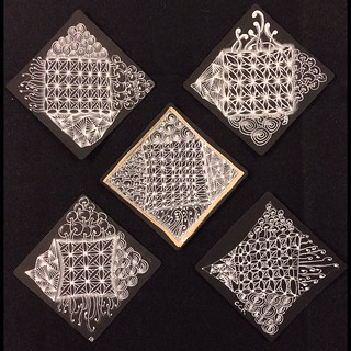 "More gorgeous and dramatic black tiles from tonight's ""Introduction to Black Tiles"" class in Windsor, Ontario. #zentangle #tangle #tangling #czt #laurelreganczt #art #classes #artclass #artclasses #draw #drawing #windsor #ontario #yqg 