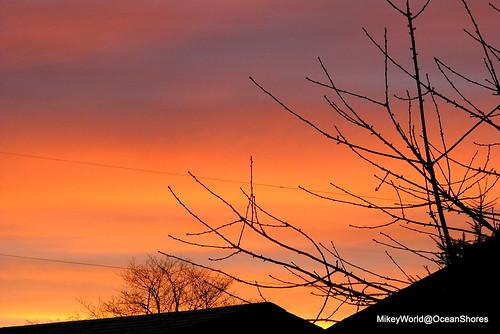red sky sunrise atmosphere morningsun oceanshores postxmas