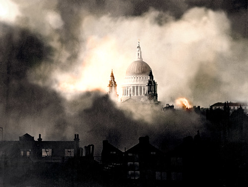 Through the smoke of burning London, St Paul's Cathedral Survives another night of The Blitz. December 29/30 1940