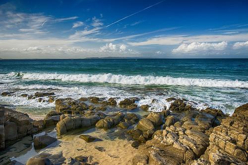 ocean sea seascape beach landscape rocks day waves oceanwaves pwpartlycloudy