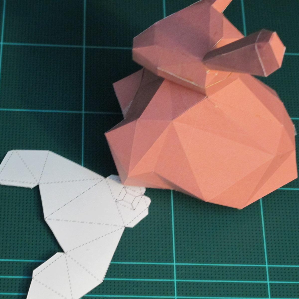 วิธีทำโมเดลกระดาษเรขาคณิตรูปกระต่าย (Rabbit Geometric Papercraft Model) 022