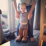 George trying on my rigger boots this morning