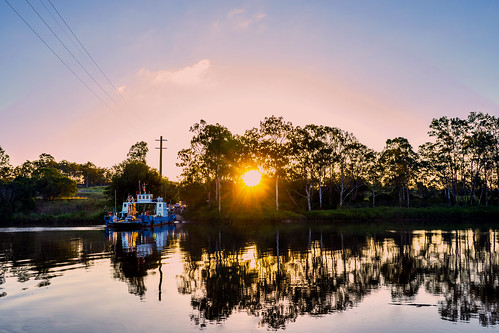 trees sunset reflection water weather river boats brisbaneriver waterreflections
