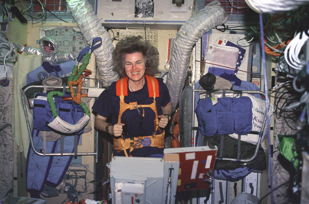 Lucid On Treadmill In Russian Mir Space Station Astronaut Flickr