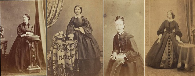 Four CDV's of English Ladies with Books