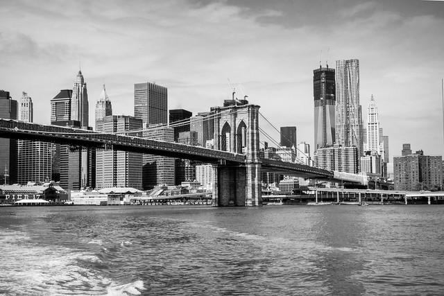 Brooklyn Bridge Showing New World Trade Centre at Ground Zero