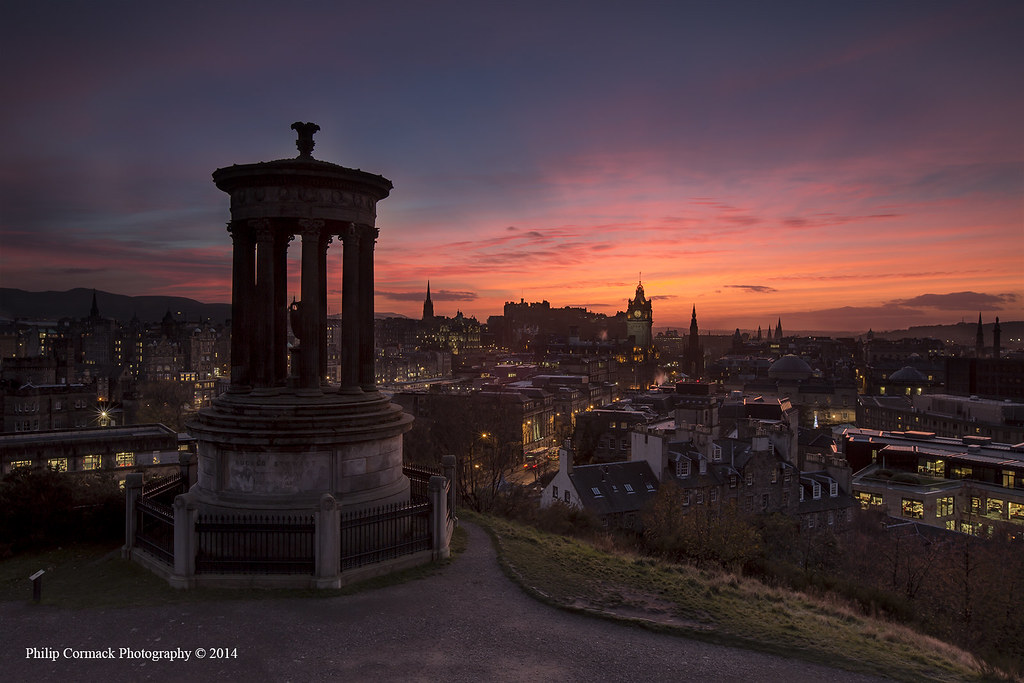 Dugald Stewart Monument at Sunset