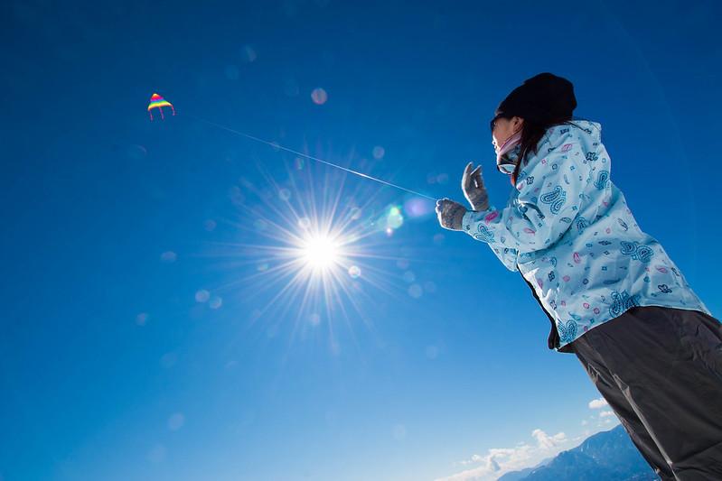 飯盛山で凧揚げ