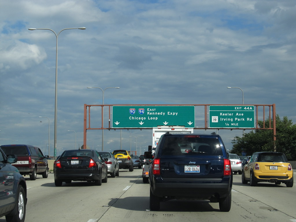 Approaching Chicago, Illinois, Kennedy Expressway, I-90 an