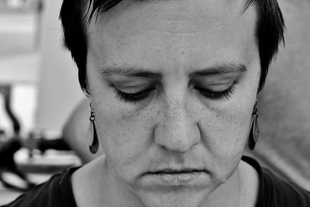 sad looking woman