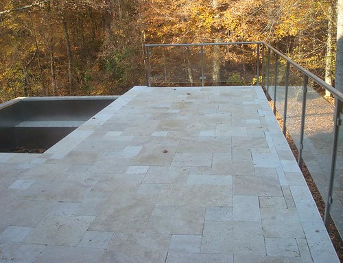 Denby Pool Deck with Travertine Pavers | by Silca System