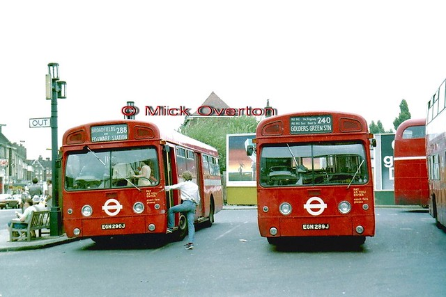 1970 AEC Swifts SMS290 EGN290J + SMS289 EGN289J Edgware station August 1979