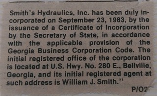Newspaper clipping from the Claxton Enterprise showing incorporation | by smithshydraulic
