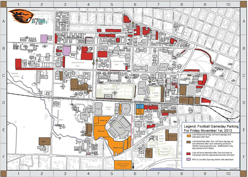 Footballmap | Nov. 1 parking map for campus | Oregon State ...