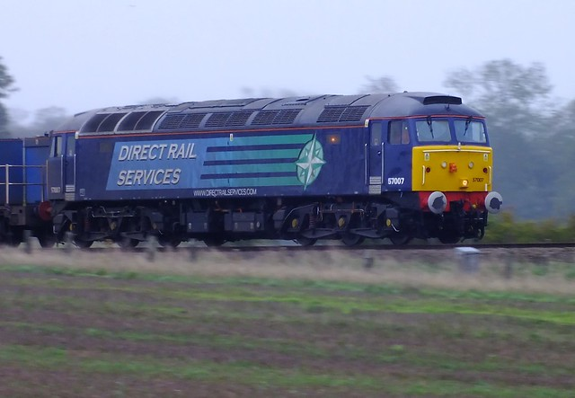 A relatively clean 57007 leading on East Suffolk RHTT return working towards Ipswich, at Campse Ashe. 13.16, 11 11 2013