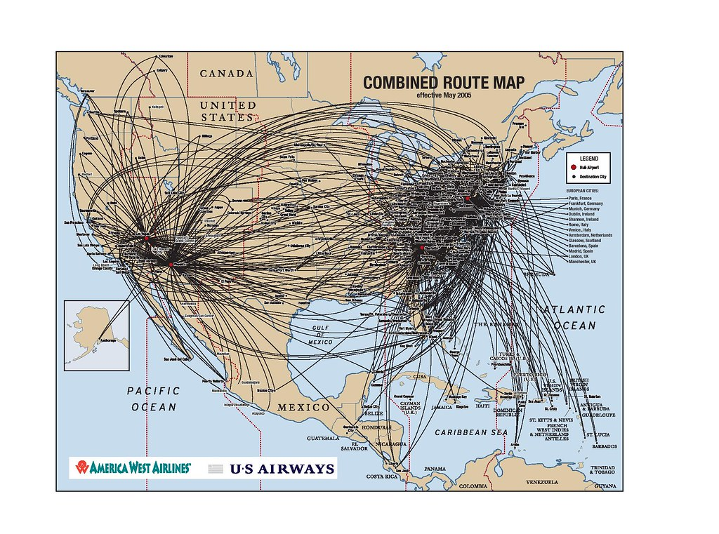 Combined America West and USAirways Route map, May 2005 | Flickr