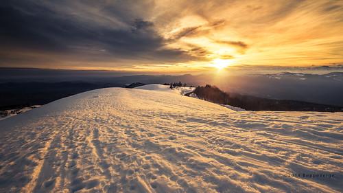 sunset snow alps landscape tramonto neve alpi mottarone beppeverge