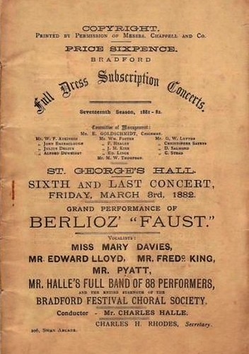 "3rd March 1882 - ""Faust"" by Berlioz at St. George's Hall, Bradford 