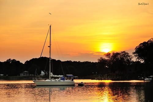 sunset sailing chesapeakebay nikon1870mm nikond90 sailboatsatanchor leefilters062stopndgradhardedge