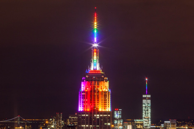 Empire State Building in Rainbow Colors for Gay Pride 2015