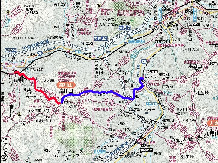 高川山の地図