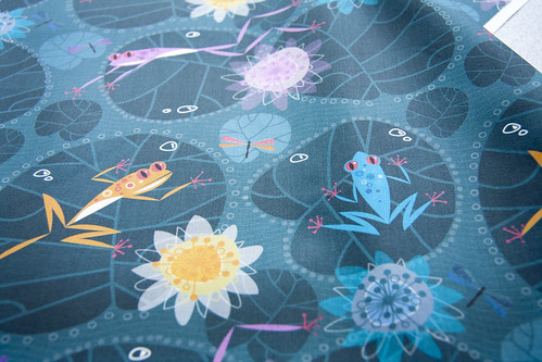 FROGS AND WATER LILIES by zapi | by Spoonflower Fabrics