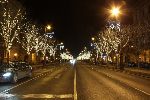 Budapest: the Andrassy avenue in christmas decoration 1