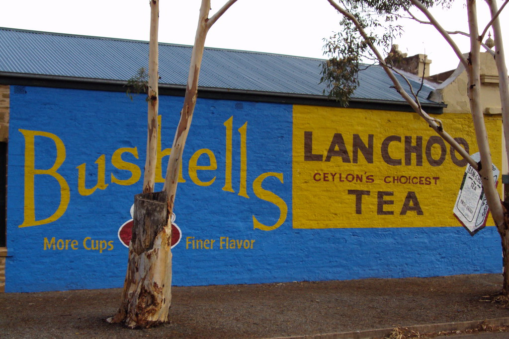 Terowie South Australia. Bushell tea advertsing on the side of an old store in Terowie.