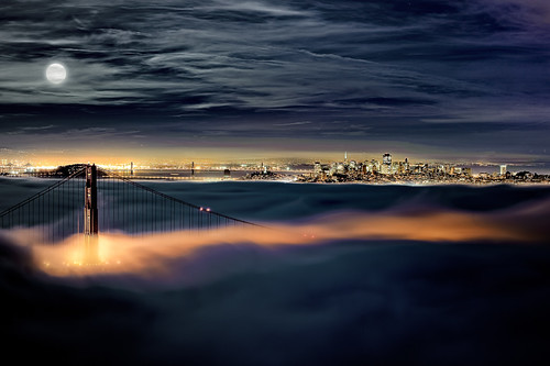 sanfrancisco ca bridge moon fog clouds oakland downtown marin goldengatebridge baybridge headlands moonlight marinheadlands