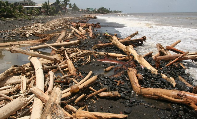 Coastal damage on Black Point Beach on the Windward Side of St. Vincent and the Grenadines.