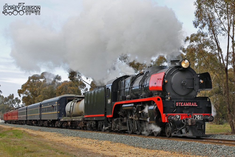 Steamrail R761 Echuca Trip passes through Merrigum by Corey Gibson