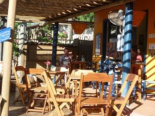 On the terrace at Café Dri and Dani in Barra Grande, Brazil