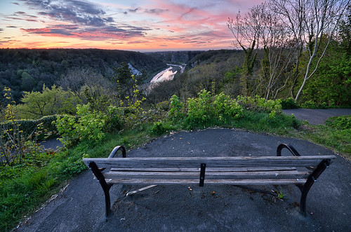 sunset red bench bristol purple gorge viewpoint clifton snshdr