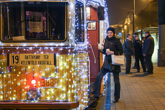Christmas tram in Budapest 32 - steping up
