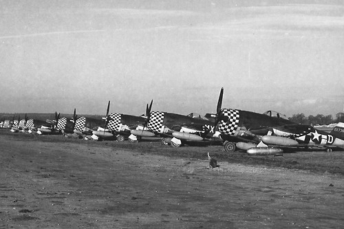 P-47 Thunderbolts with the distinctive markings of the 78th FG.