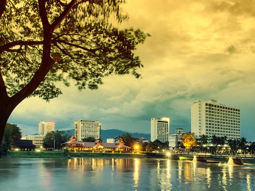 park travel bridge building river landscape thailand outdoors twilight asia view dusk thai chiangmai kit ping omd em5