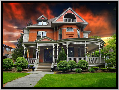 sunset sky usa house ny newyork david architecture clouds anne us nikon congressman style landmark historic queen east rochester corey ave porch mansion rounded offices p90 reuse monroecounty districk 706 onasill