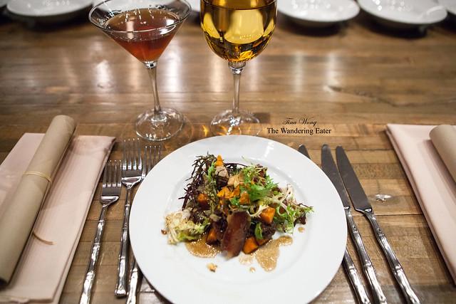 Winter greens, maple glazed bacon, crisp sweet potatoes, sweet onions, warm whiskey-honey balsamic vinaigrette by Amanda Frietag of Empire Diner