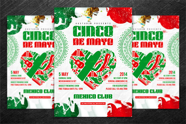 "Cinco de Mayo party poster, PSD Template | ""Cinco de Mayo pa"
