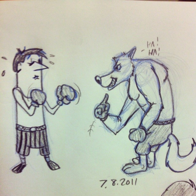 Cartoon Doodle Drawing Man Anthro Wolf Match Boxin Flickr