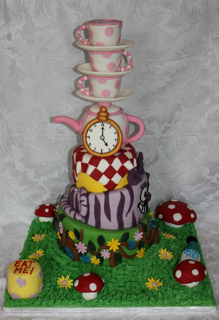 Fantastic Wonky Alice In Wonderland Birthday Cake Pauls Creative Personalised Birthday Cards Cominlily Jamesorg