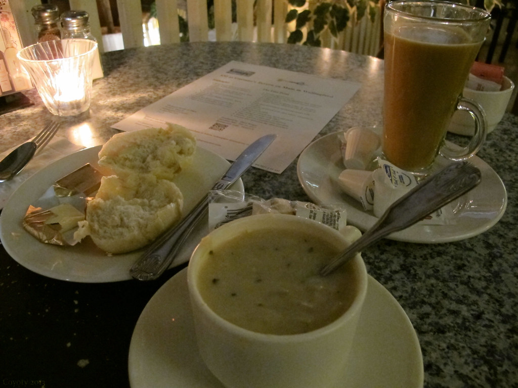 Shrimp chowder, coffee, and steaming hot bread
