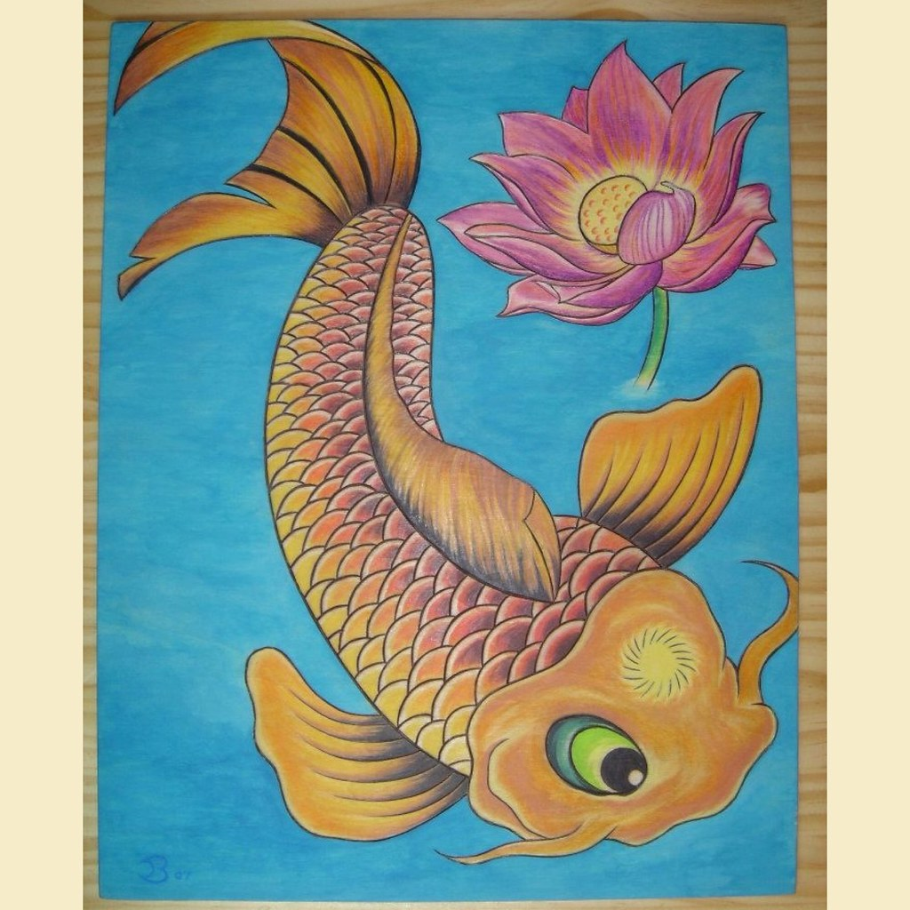 Koi Fish And Lotus Flower This Is A Wood Burned Wall Hangi Flickr