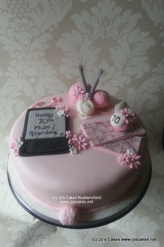Remarkable Single Tier 70Th Birthday Cake With Knitting Bingo And Ki Flickr Funny Birthday Cards Online Fluifree Goldxyz