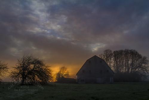 ranch trees sky color colour grass silhouette clouds barn sunrise farm sunup daybreak 2014