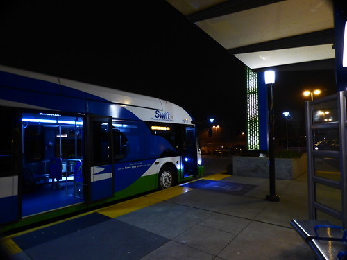 NOSE OF A SWIFT BUS AT THE EVERETT STATION HUB FOR THE SWIFT BUS