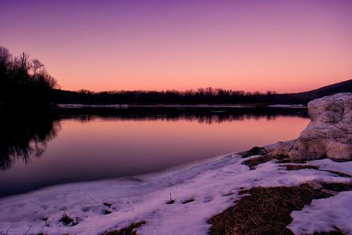 sunset snow night