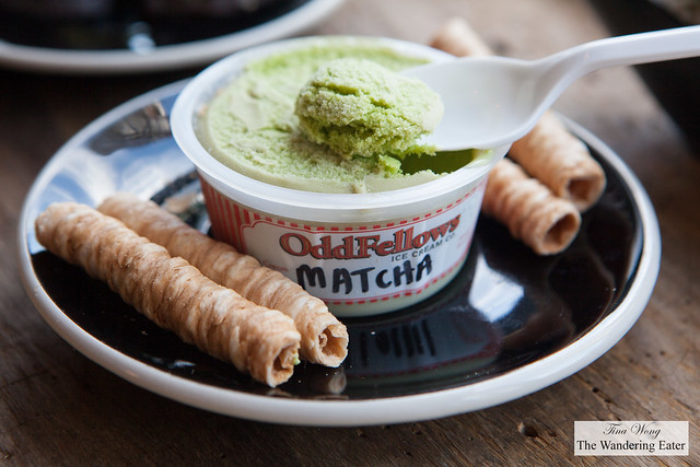 Matcha ice cream partnered with Oddfellows Ice Cream, served with coconut crepe cookies