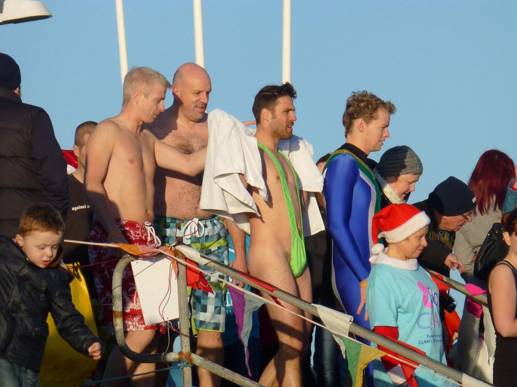 e47db2692a ... Borat Banana Hammock Mankini - Aberdeen Lions Nippy Dippers in North  Sea at Aberdeen Beach,