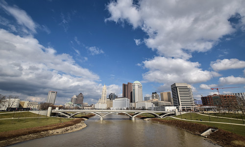main street bridge scioto mile downtown columbus ohio urban city skyline cityscape river reflection panorama wide angle sky clouds water